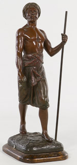 "Debut (20th Century) ""African Warrior"" Metal Statue"