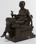 Bronze Female Statue on Marble Plinth