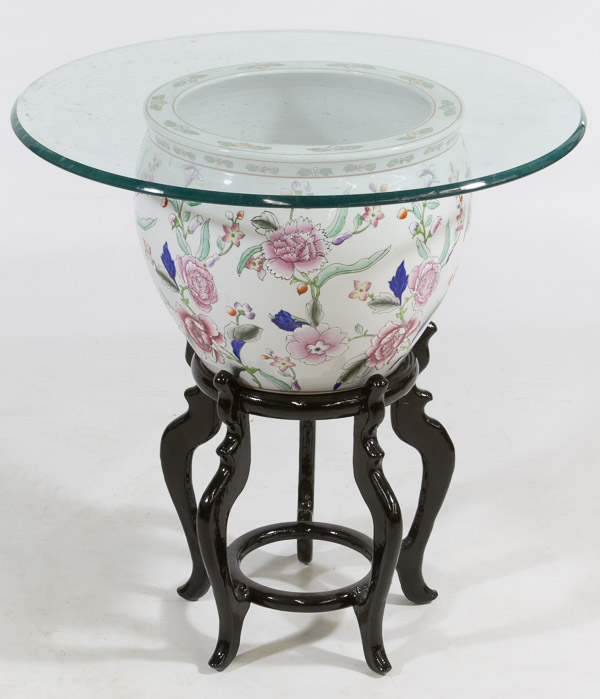 Chinese fish bowl with wooden stand and glass top for Fish bowl stand