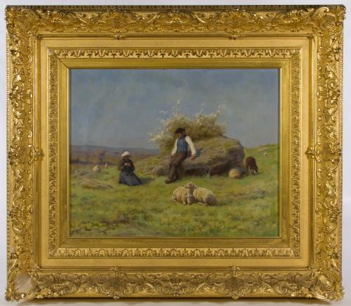 "Rene Peyrol (French, 1860-1899) ""Springtime Shepherds"" Oil on Canvas"