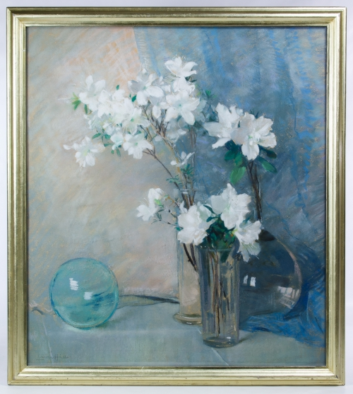 "Laura Coombs Hills (American, 1859-1952) ""Floral Still Life"" Pastel on Board / Paper"