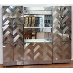 Mid-Century Modern Mirror and Stainless Steel Dry Bar by Ello