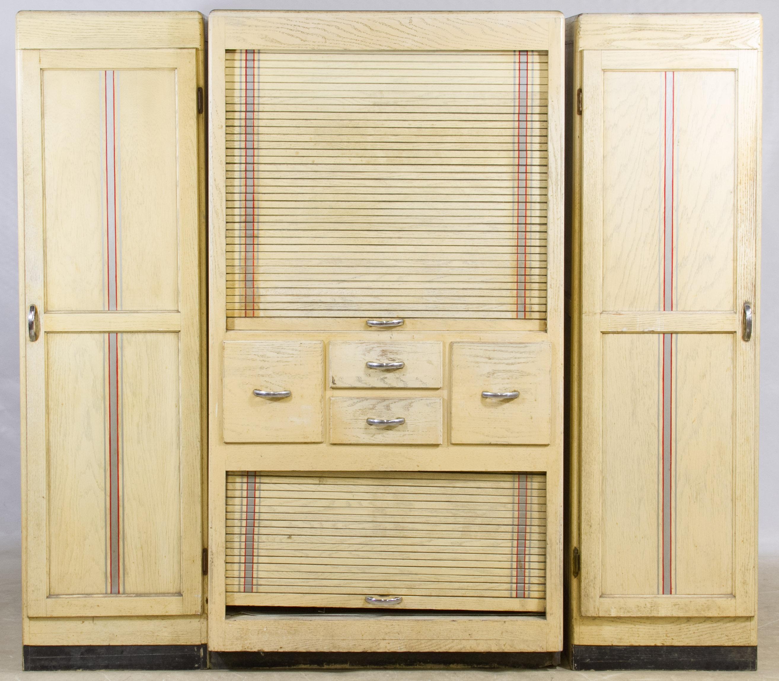 Limed Oak Hoosier Kitchen Cabinet Set By Napanee