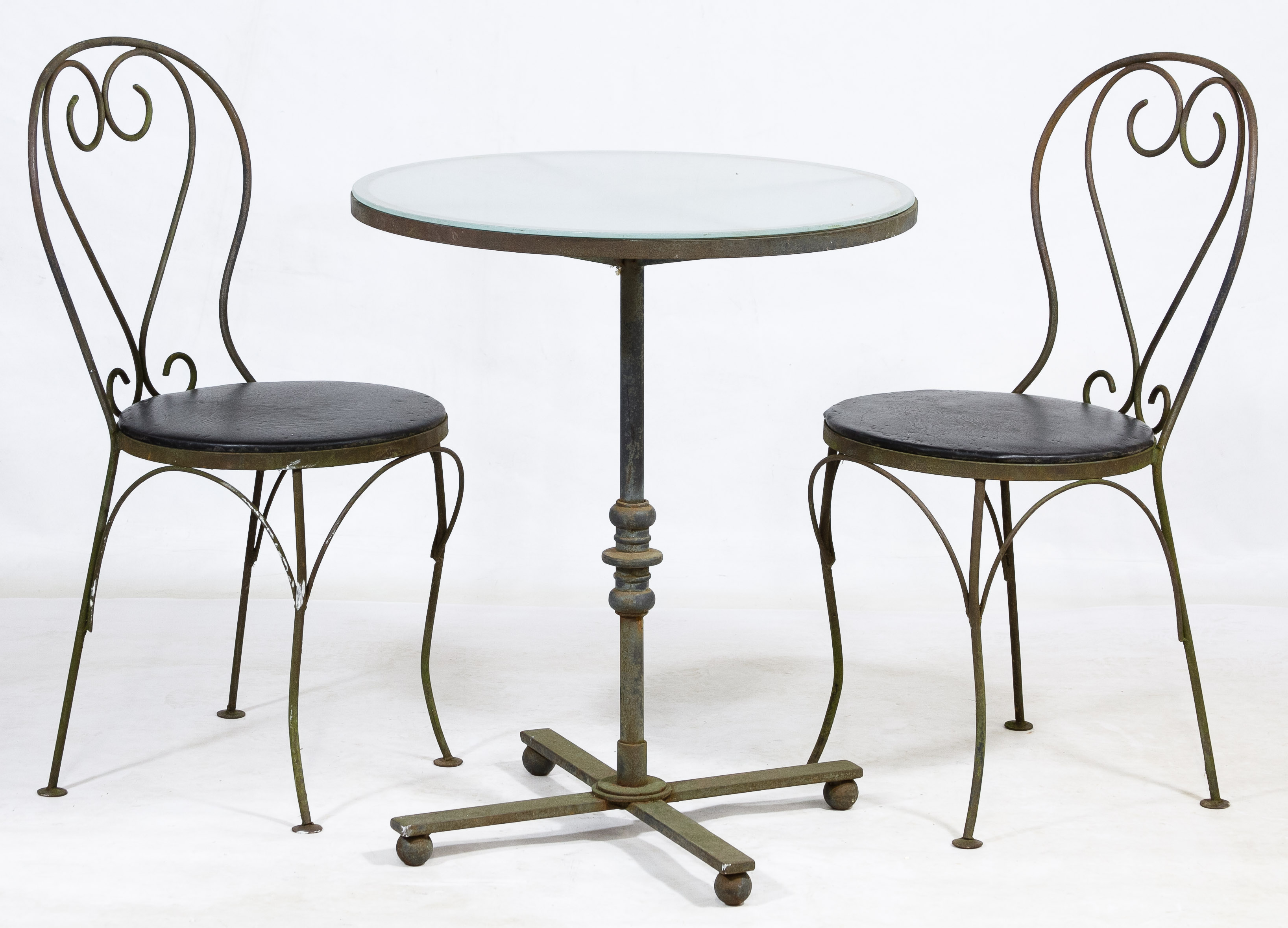 Wrought iron bistro table and chairs 1920s wrought iron for Wrought iron cafe chairs