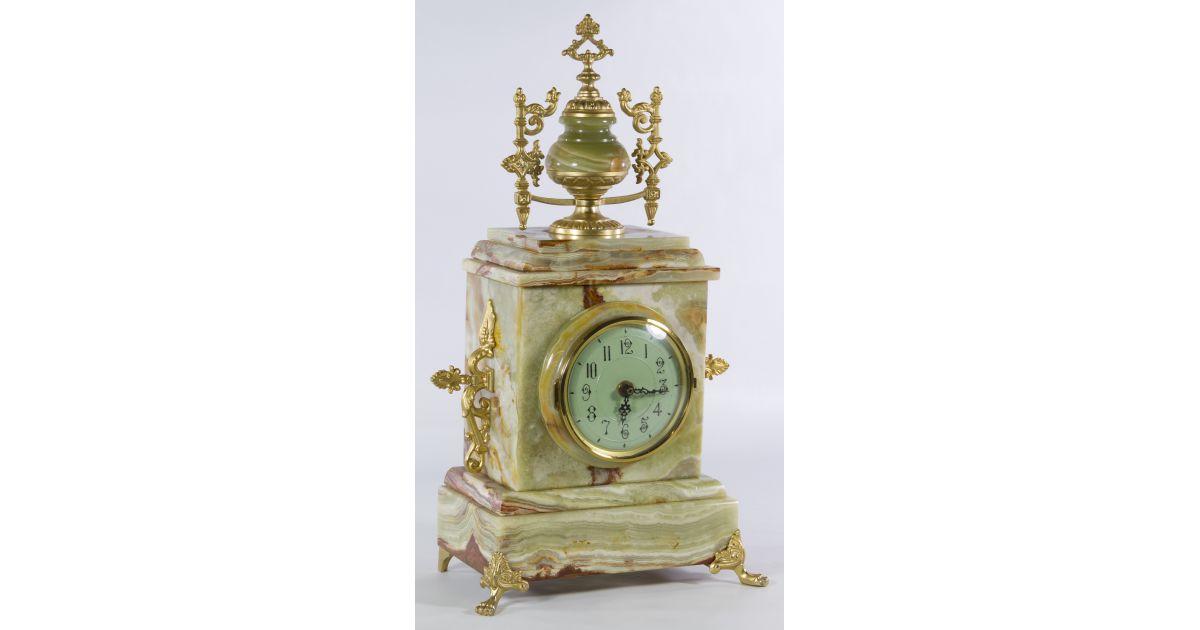414Alabaster ClockLeonard Auction Mantel Lot Sale201 BeordxC