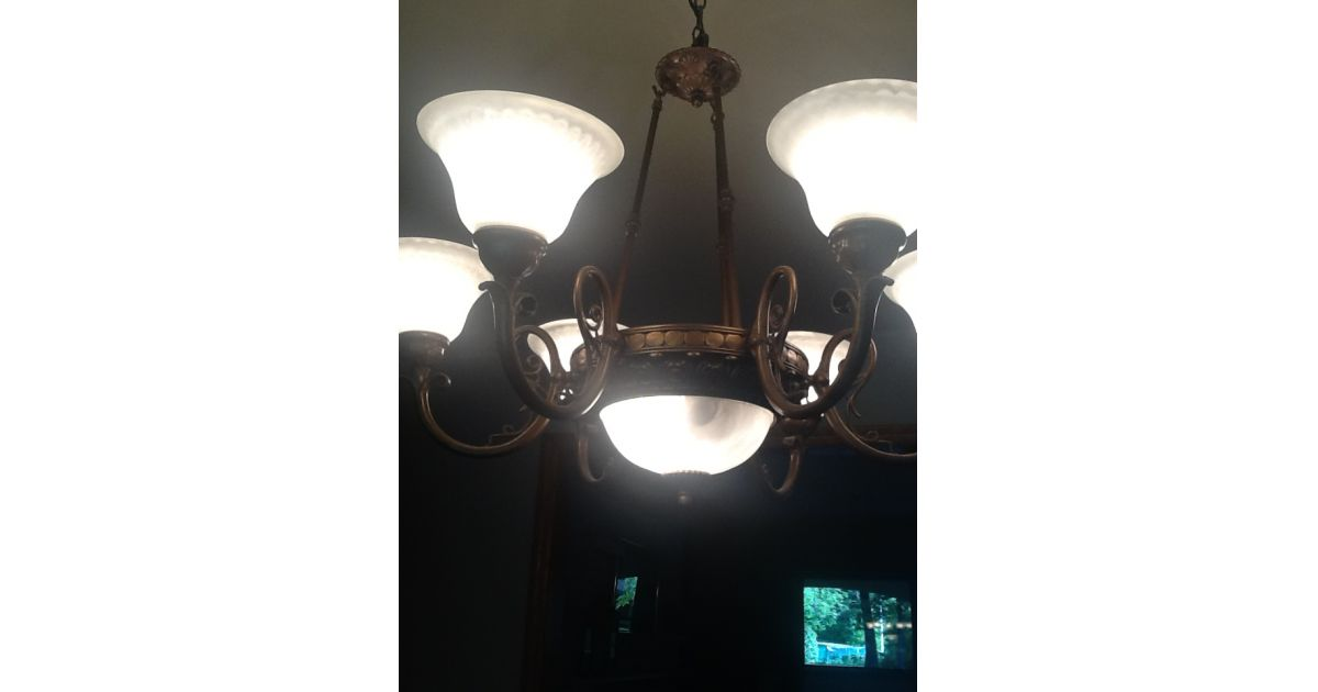 Lot 737 Six Light Electric Chandelier By Angelo Lighting