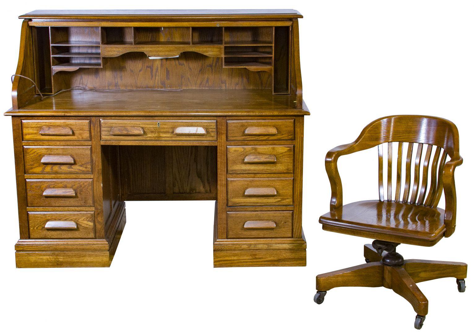 Beau Oak Roll Top Desk And Chair By Jasper Cabinet Company