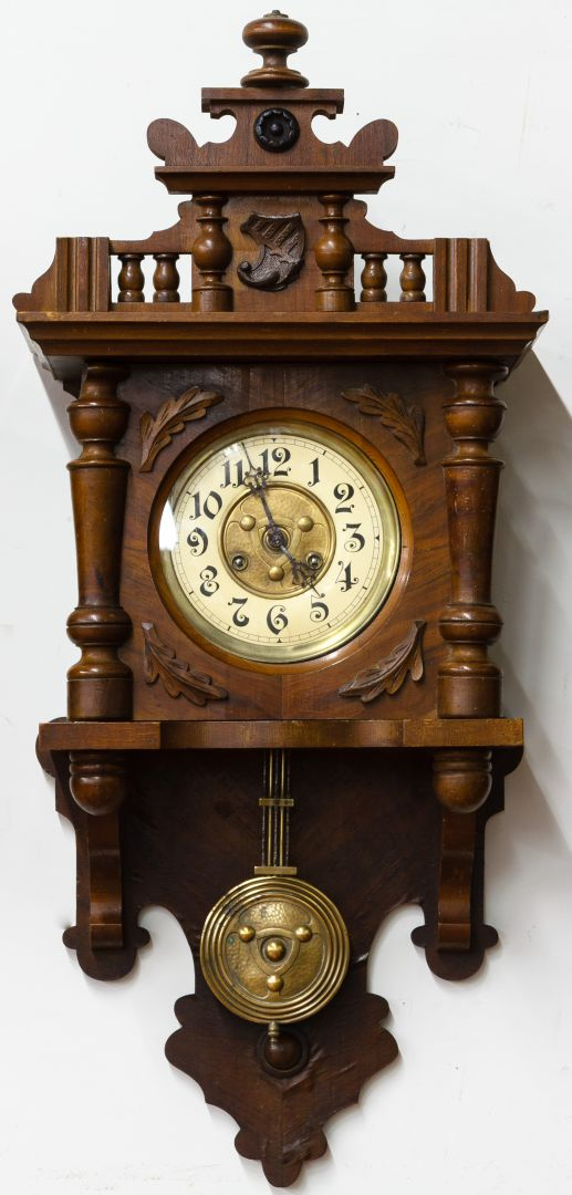 Lot 144 arts and crafts style walnut clock leonard for Arts and crafts clocks for sale