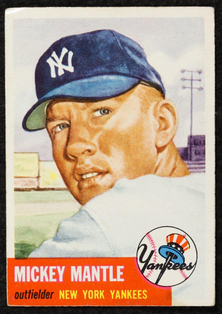 Lot 366 1953 Topps Mickey Mantle 82 Baseball Card Leonard