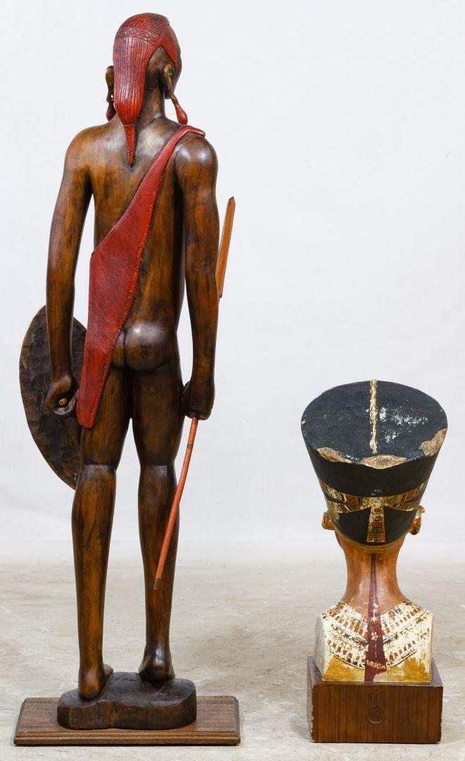 Lot 192: Carved Wood Maasai Warrior Tribal Statue   Leonard