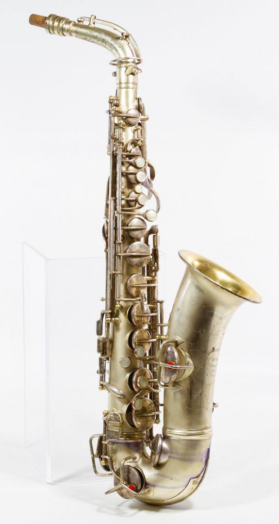 Lot 365: CG Conn Ltd Silverplate Saxophone with Case