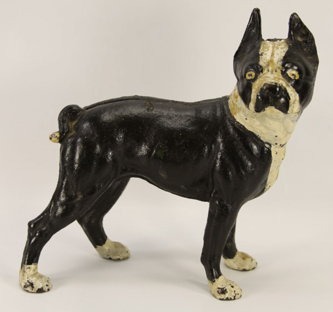Lot 5010 Black White Cast Iron Boxer Dog Door Stop Leonard