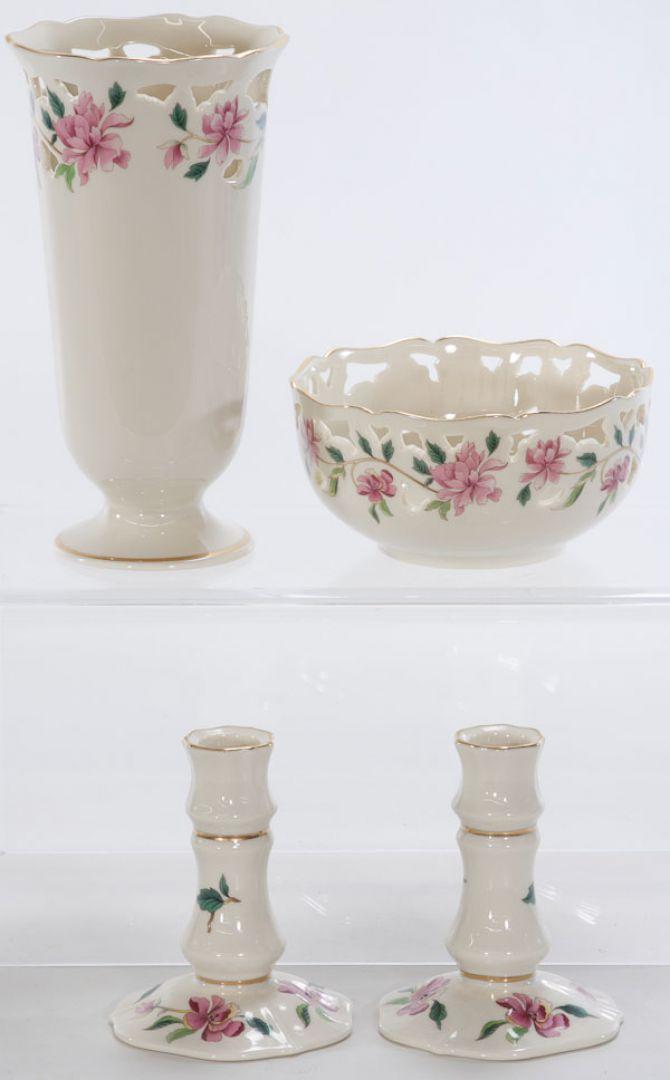 Lot 4006 Lenox Porcelain Vase Bowl And Candlesticks Leonard
