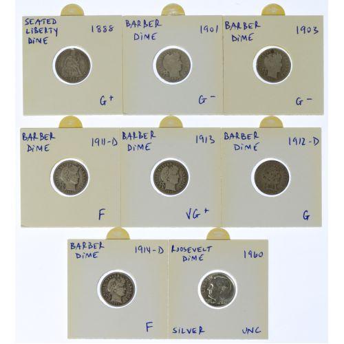 1888, 1901, 1903, 1911-D, 1912-D, 1913, 1914-D, 1960 10c Unc. - AG