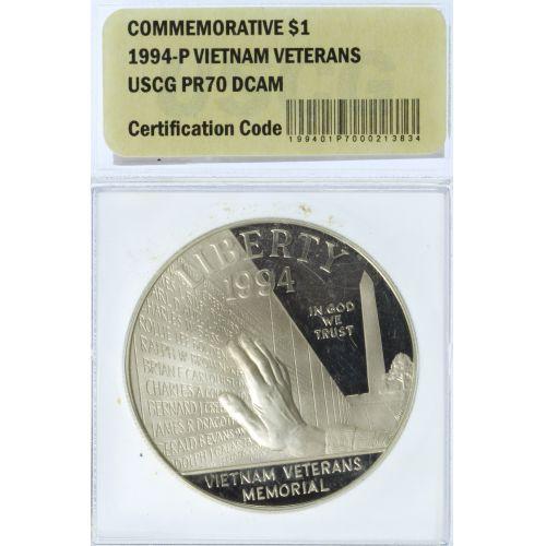 1994 $1 Vietnam Veterans PR-70 DCAM USCG
