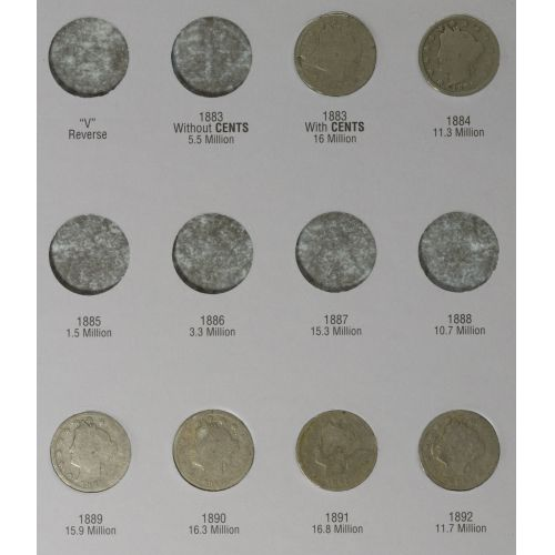 1883-1912 Liberty 5c Partial Set AG
