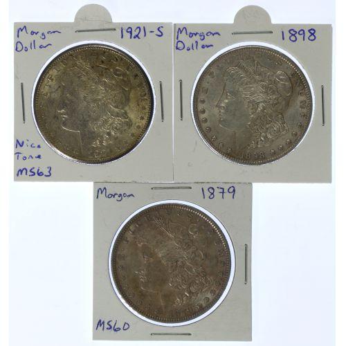 1879, 1898, 1921-S $1