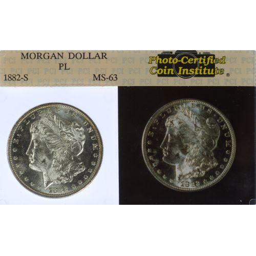 1882-S $1 MS-63 PL