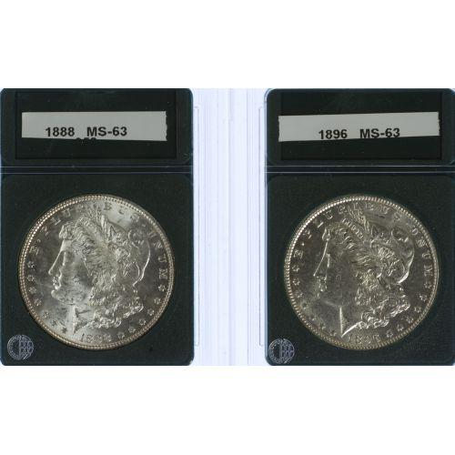 1888, 1896 $1