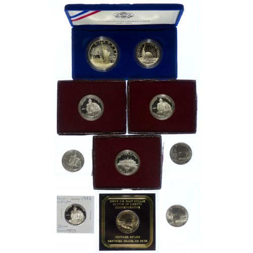 1982 50c Washington, 1986 Liberty Coin Set