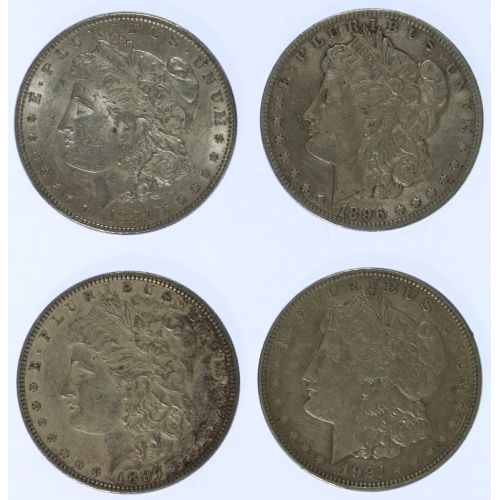 1881, 1896-O, 1897, 1921 $1