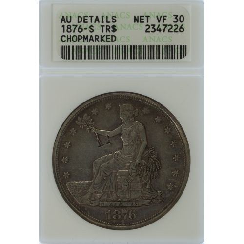 1876-S $1 VF-30 Details ANACS