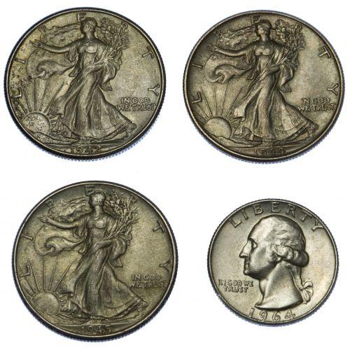 1942-D, 1944, 1945 50c, 1964 25c AU