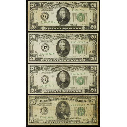 1928 $20 & $5 Federal Reserve Notes G-F