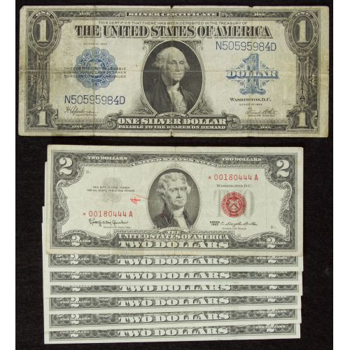 1923 $1, 1963 $2*, 1976 $2 Notes