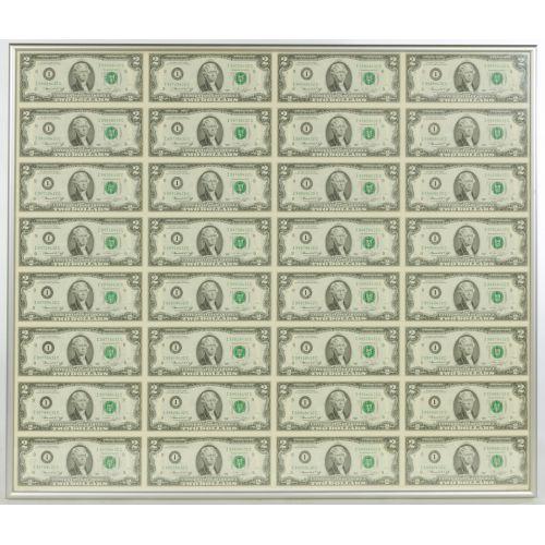 Framed Uncut Sheet of 1976 $2 Bills