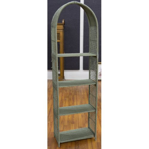 Green Painted Wicker Display Shelf