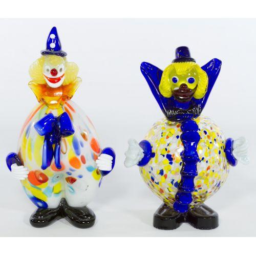 Pair of Murano, Italy Decorative Glass Clowns