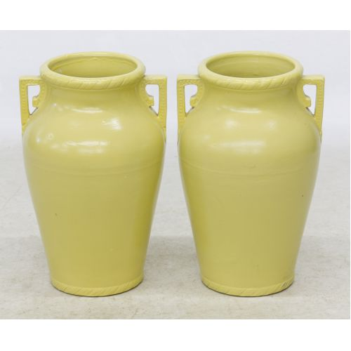 Yellow Glazed American Ceramic Floor Vases