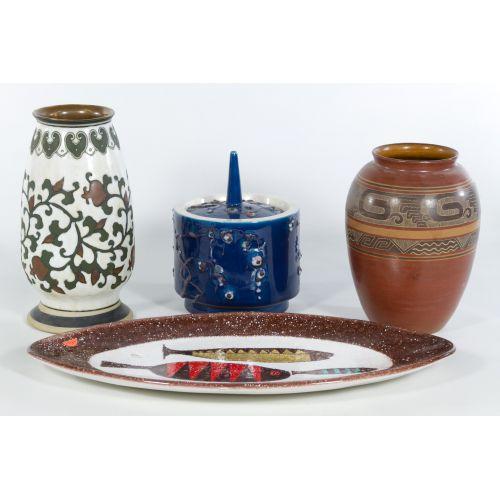 Pottery Vases, Platter, Covered Jar