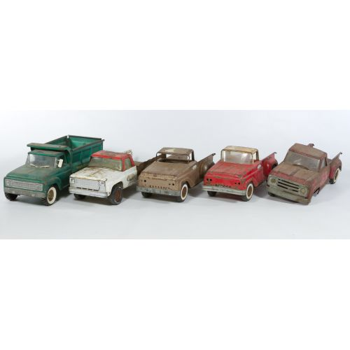 (5) Early Tonka and Structo Metal trucks