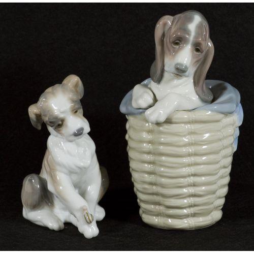 "Lladro ""Dog in Basket"" #1128 Glazed Retired & ""New Friend"" #6211 Glazed Active"