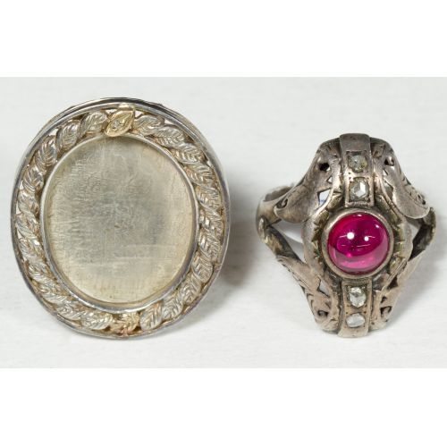 Sterling Pin with Diamond Chip & Silver Ring with Cabochon Ruby & Mine Cut Diamond Chips
