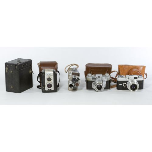 Collection of Early Cameras and Cases (5 Pieces)