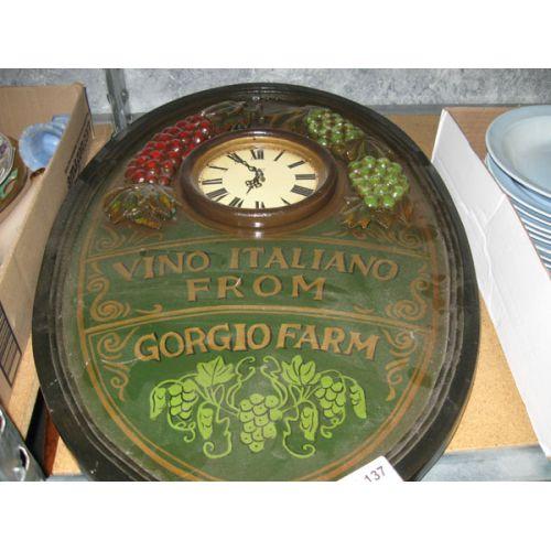 Wine Plaque with Clock