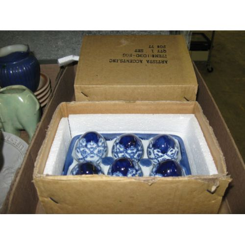 Blue & White Ceramic Eggs in Carton (2pcs)