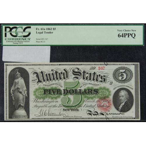1862 $5 Legal Tender, Very Choice New 64 PPQ PCGS