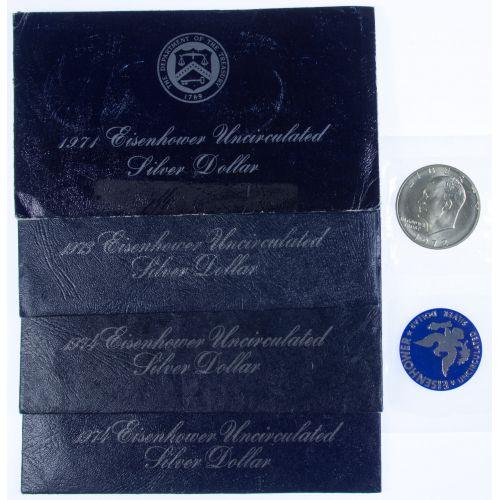 1971, 1972, 1973, 1974, 1974, Eisenhower $1 Blue Pack, 1972 Eisenhower $1 No Cover