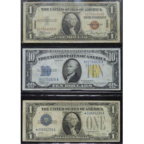 1934-A $10, 1935-A $1, 1928-A $1 Star Note VG