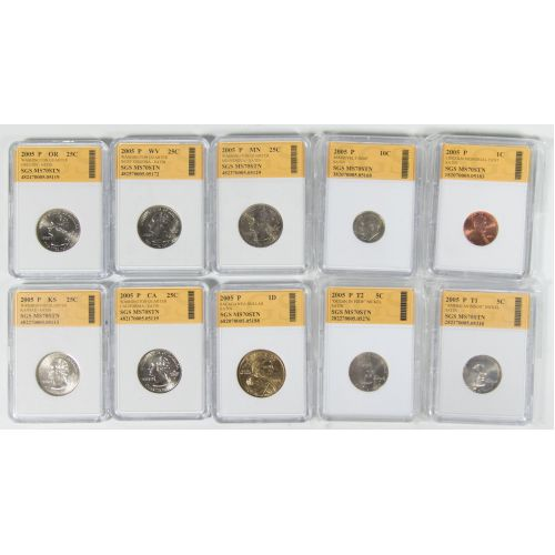 2005 US Mint Satin Set MS-70 SGS