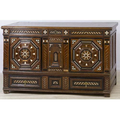 Flemish Oak Cabinet with Bone Inlay