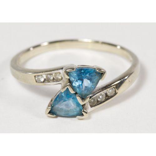 10k White Gold, Blue Topaz and Diamond Ring