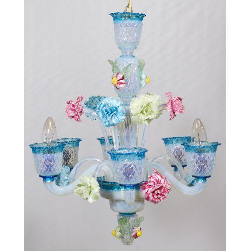 Murano Style Art Glass Chandelier