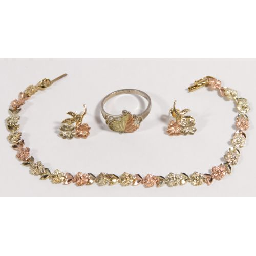 14k Tri-Color Gold Bracelet, Earrings and Ring