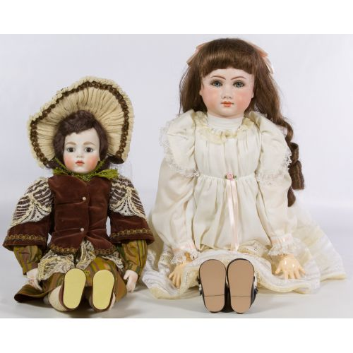 Reproduction Bisque Jumeau and Bru Dolls