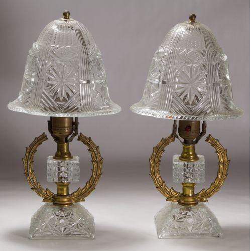Pressed Glass Boudoir Lamps